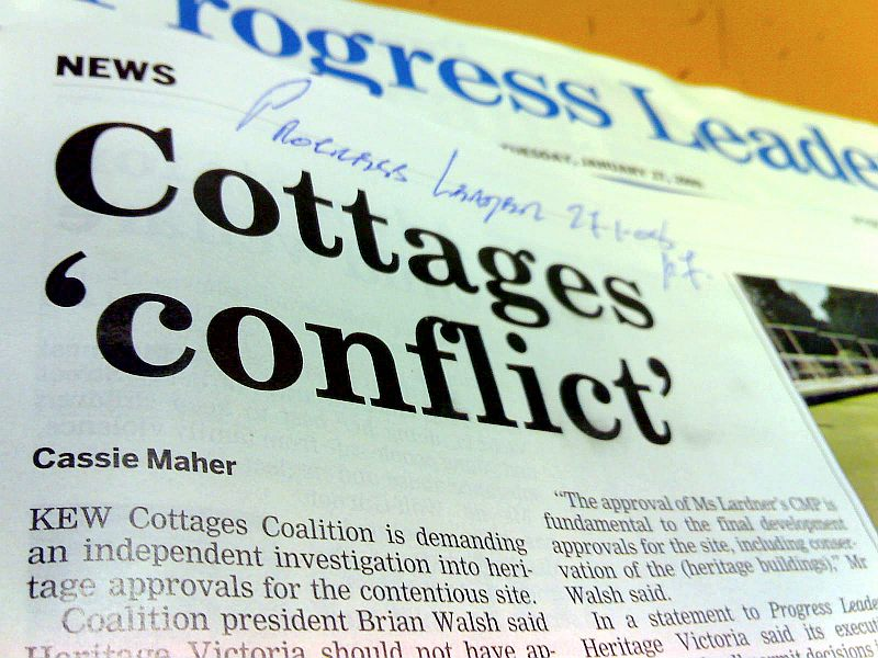Cottages 'conflict', Progress Leader, 27-1-08p7
