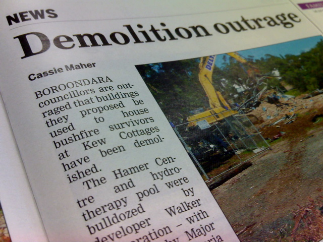 Demolition Outrage, Progress Leader