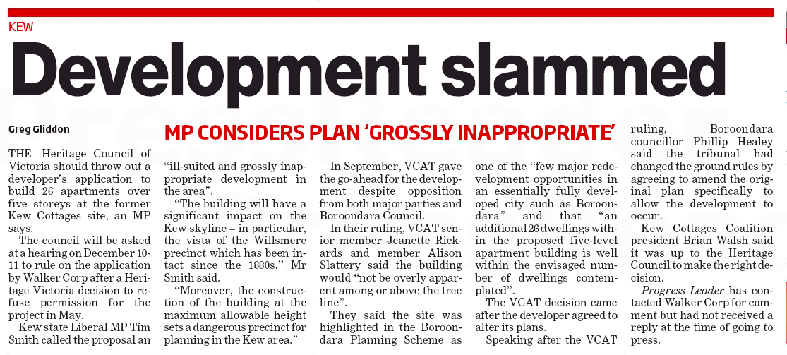 Development slammed, Progress Leader, 8                             Dec 2015