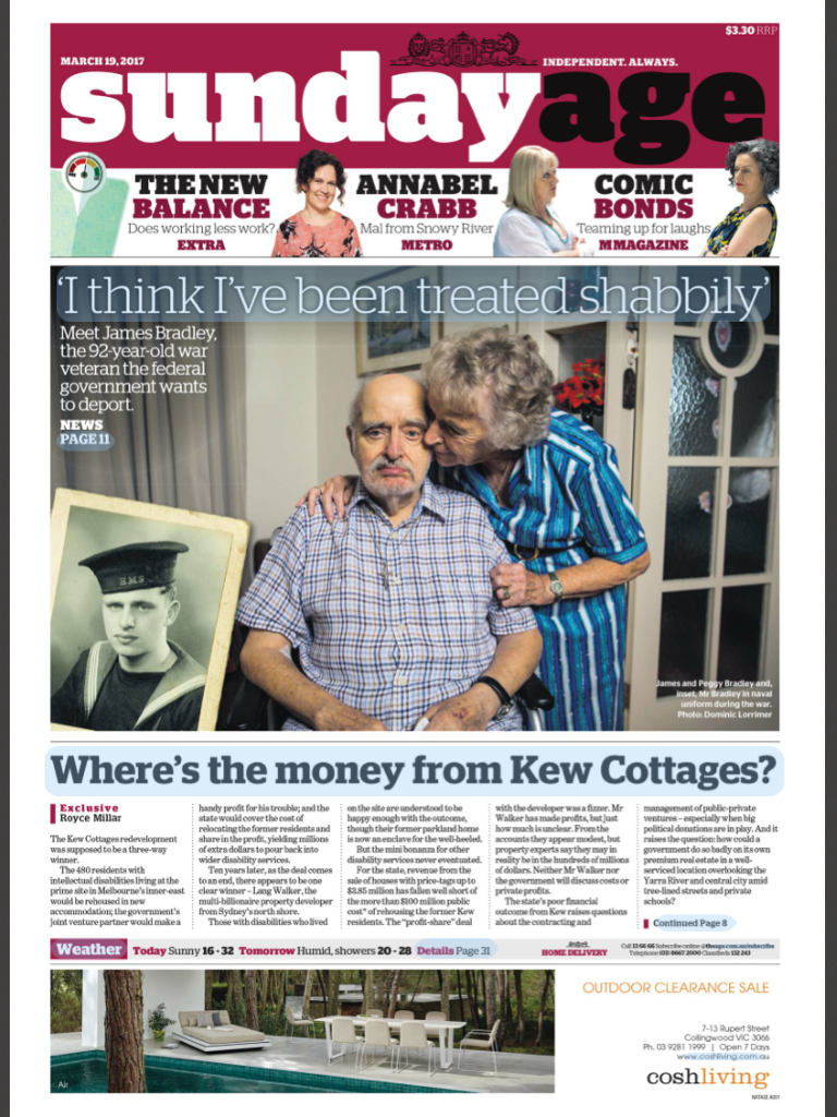 The Sunday Age - Where's the money from Kew               Cottages?