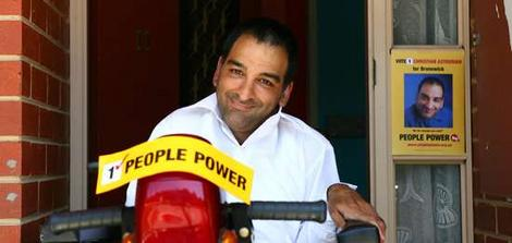People Power candidate Christian Astourian, who suffers from